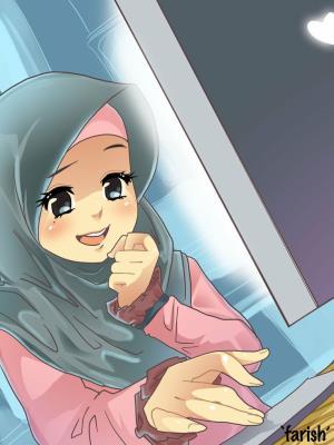 Anime Muslimah Pencil Drawing